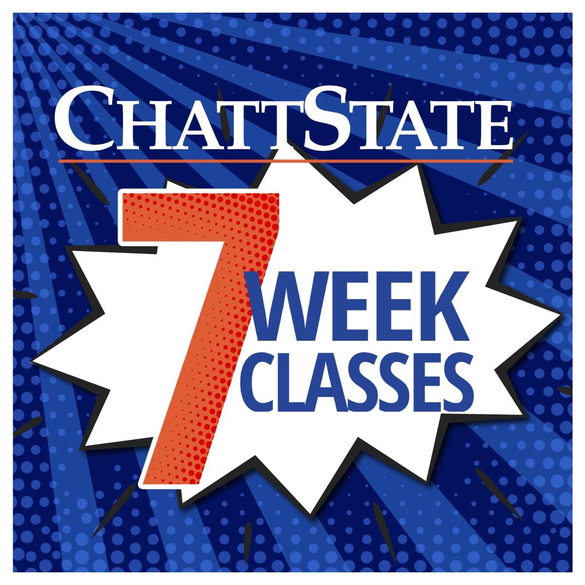 ChattState 7 Week Classes on a blue square with comic elements.