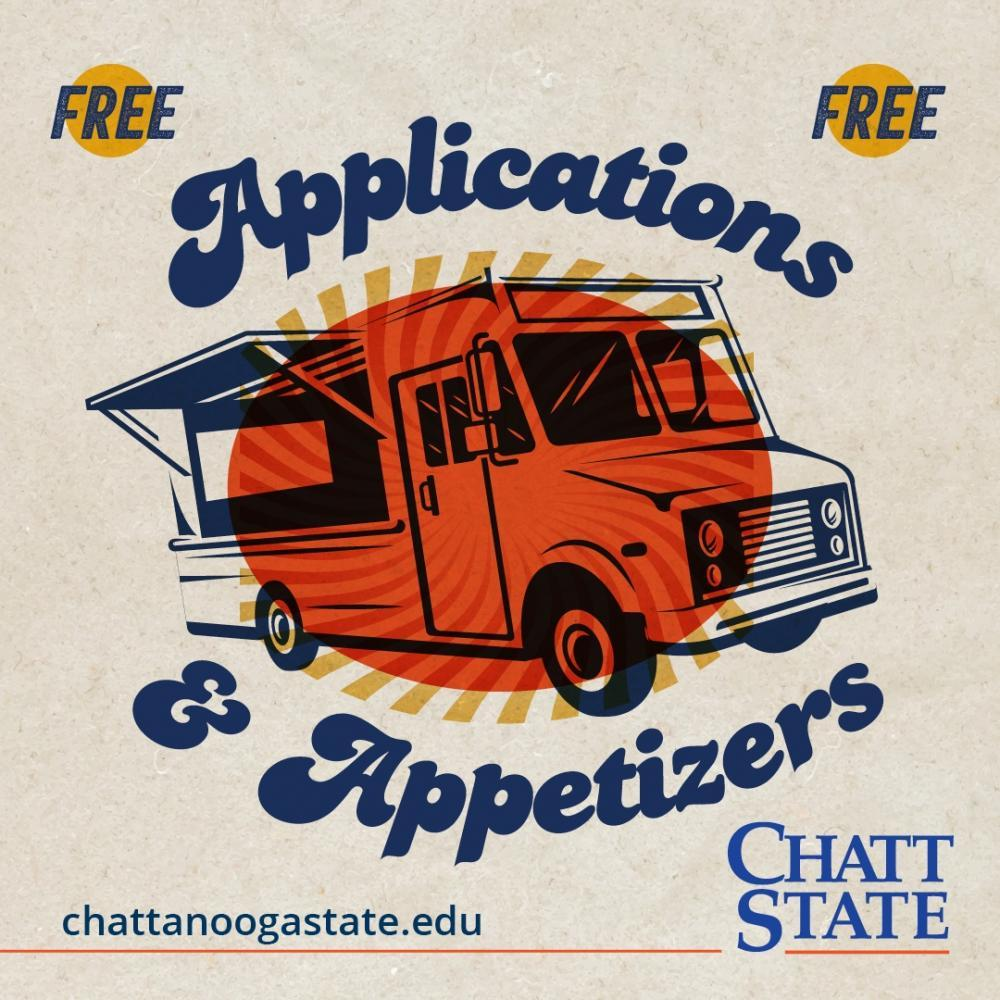 Free Event Applications & Appetizers with a food truck over a sun and rays. chattanoogastate.edu ChattState
