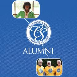 alumni lady and three men and chattstate logo