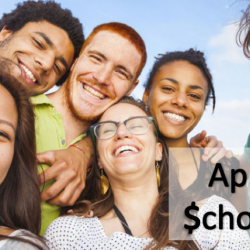 image of students reads: Apply for scholarships