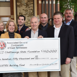 Associated General Contractors of East TN present $150,000 check to Dr. Tydings and leaders from Engineering division Caitlin Moffett and foundation brd member Roberta Miles