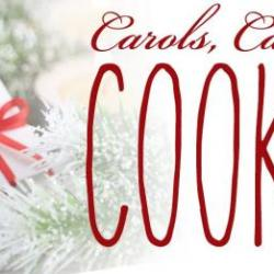 background has hot cocoa with candy cane, Image reads: Carols cookie and hot cocoa, Dec. 2, 6:30 pm