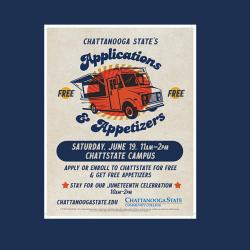 appetizers & applications flyer with event information
