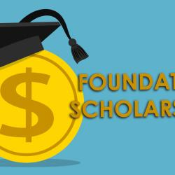 coin with a grad hat that states foundation scholarships