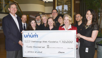 Unum leaders present Check in amt of $20,000 to Dr. Flora Tydings and writers@work faculty