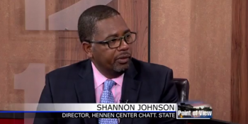 Image of Shannon Johnson on the news, he is the director of the Hennen Center at ChattState