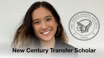 leanna harmon with words new century transfer scholar and PTK logo