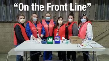 night nursing students with instructor at carta bus barn to give vaccinations